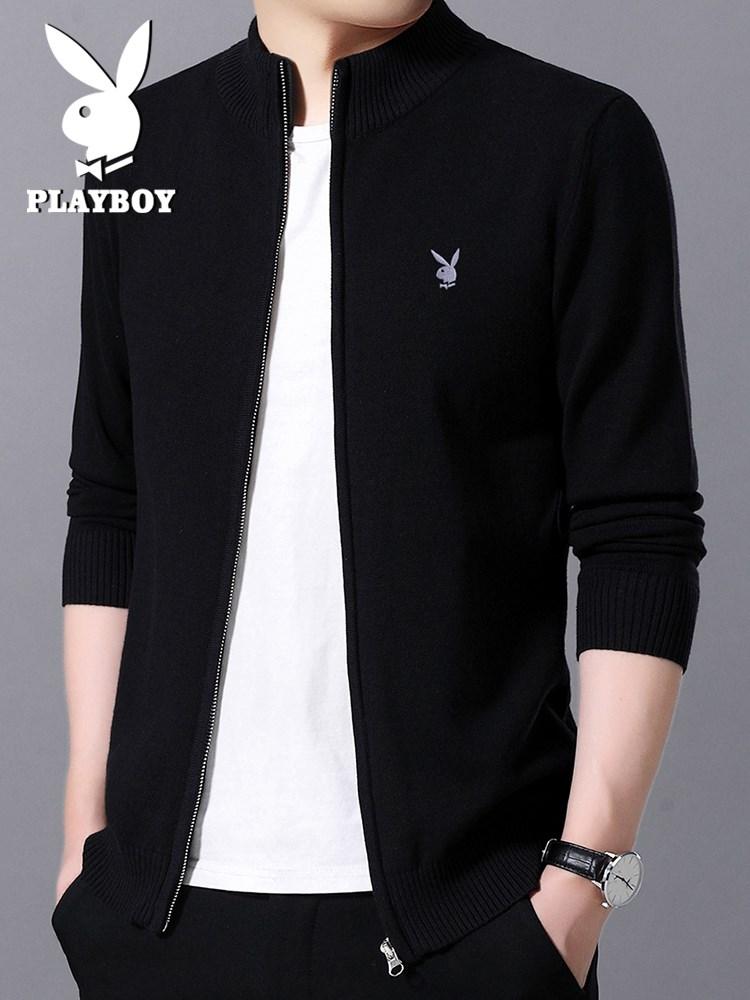 Áo len Playboy nam mùa xuân và mùa thu mới phiên bản Hàn Quốc của xu hướng áo len nam cổ áo mỏng - Cardigan