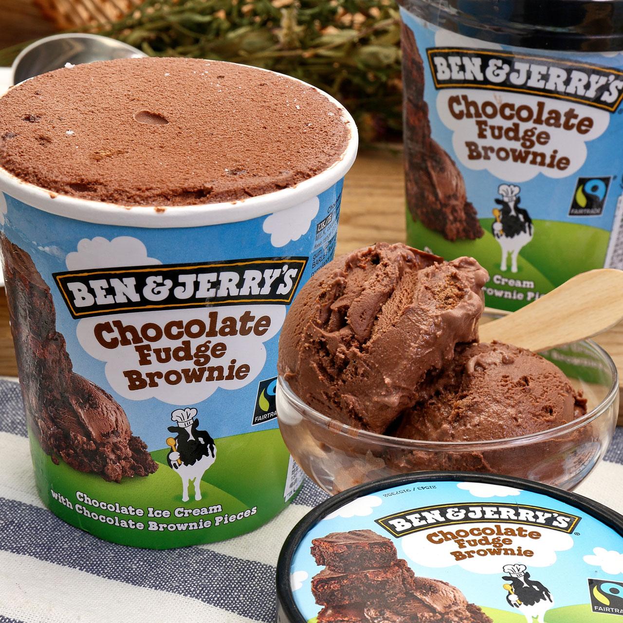英国进口,Ben&Jerry's 本杰瑞 焦糖/巧克力布朗尼冰淇淋 500ml*2桶