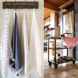 Nordic ins style washed cotton kitchen cloth hand towel hair ball lattice multi-purpose towel refrigerator cover towel cover cloth