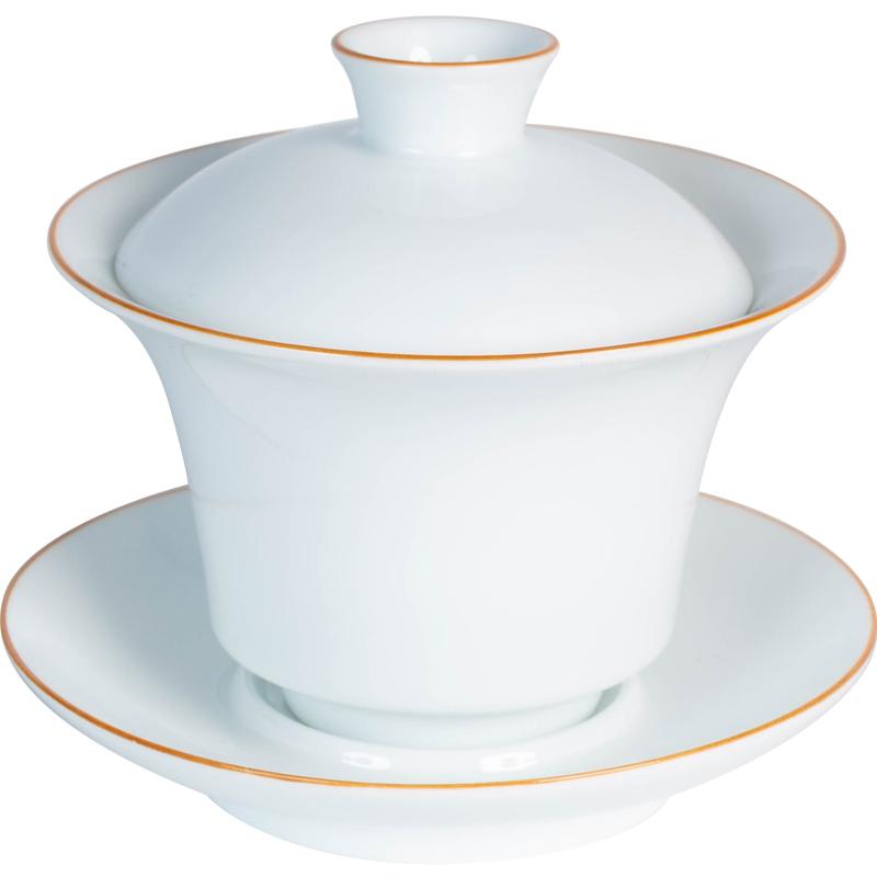 容山堂 手工甜白瓷盖碗茶杯 三才茶碗功夫茶具单个陶瓷大号泡茶器