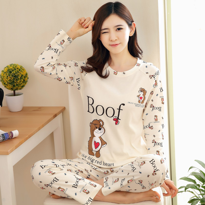 19025cea34 Spring and autumn cotton pajamas women fall long-sleeved pants casual  cartoon cotton ladies winter home service suits Korean version