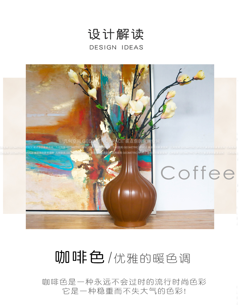 New Chinese style coffee ribbed carved porcelain vase household porch TV cabinet table decorations flower arranging furnishing articles