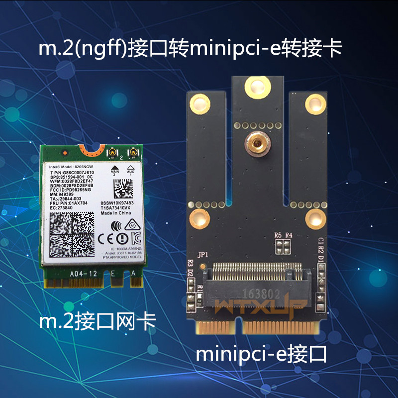 Notebook NGFF to mini pci-e riser m 2 to mini pcie wireless LAN Bluetooth  module