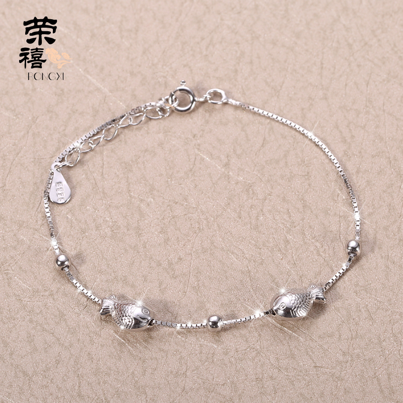 Rongxi 925 Silver Bracelet Female Models Simple Pisces Korean Sweet Jewelry To Send Girlfriend Birthday Gift