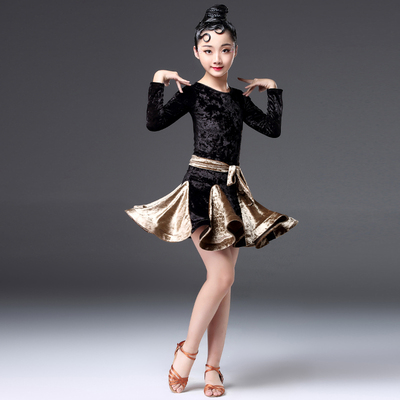 Girls Latin Dance Dresses Latin dance clothing children's long sleeved velvet training clothing children's dance competition examination performance clothing