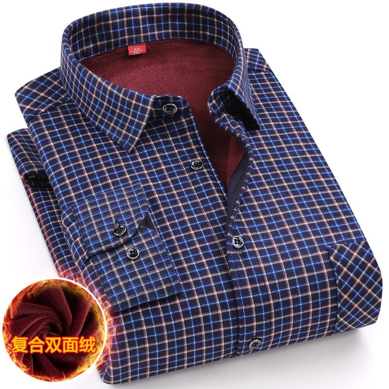 a格子格子男爸爸加绒加厚中年v格子长袖衬衣冬季中老年人衬衫装大码