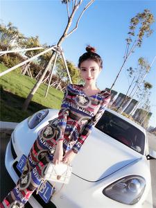 PQ74702# 秋冬新款时尚V领印花上衣+高腰显瘦长裤套装