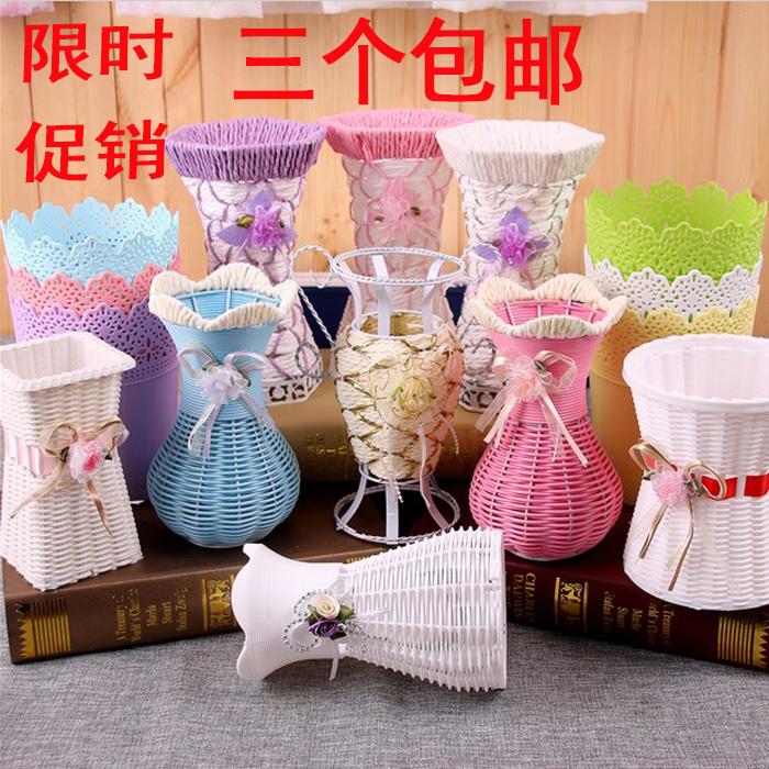 Ложный цветочная лоза компилировать корзины украшение пластик цветочный горшок гостиная цветочная композиция ткать ваза солома декоративный сухие цветы железо настенный