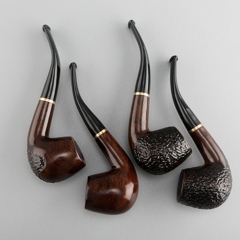 Huayun black sandalwood pipe manual filter pipe vintage stone nanmu tobacco  pipe curved solid wood straight portable