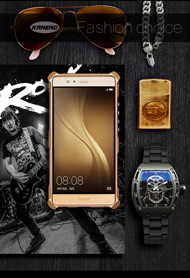 KANENG Powerful Aluminum Shell Shockproof Aerospace Metal Case Cover for Huawei Honor V8