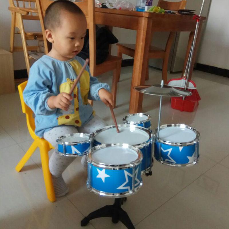 Детские Барабанный барабан начинающий барабан копия Истинный джазовый барабан лазер Пять барабанов 1-2-3 года