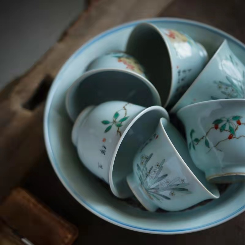 Hand draw archaize masters cup of jingdezhen ceramic high - end checking tea kungfu tea cup individual large pomegranate tea cups