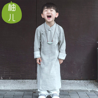 Youer's original cotton and linen children's hanfu boy Tang suit long gown baby costume master costume ancient Chinese style autumn and winter