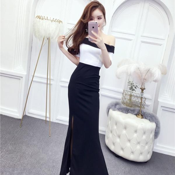 TS2641#新款时尚一字领黑白撞色修身性感高开叉显瘦礼服长裙连衣裙女