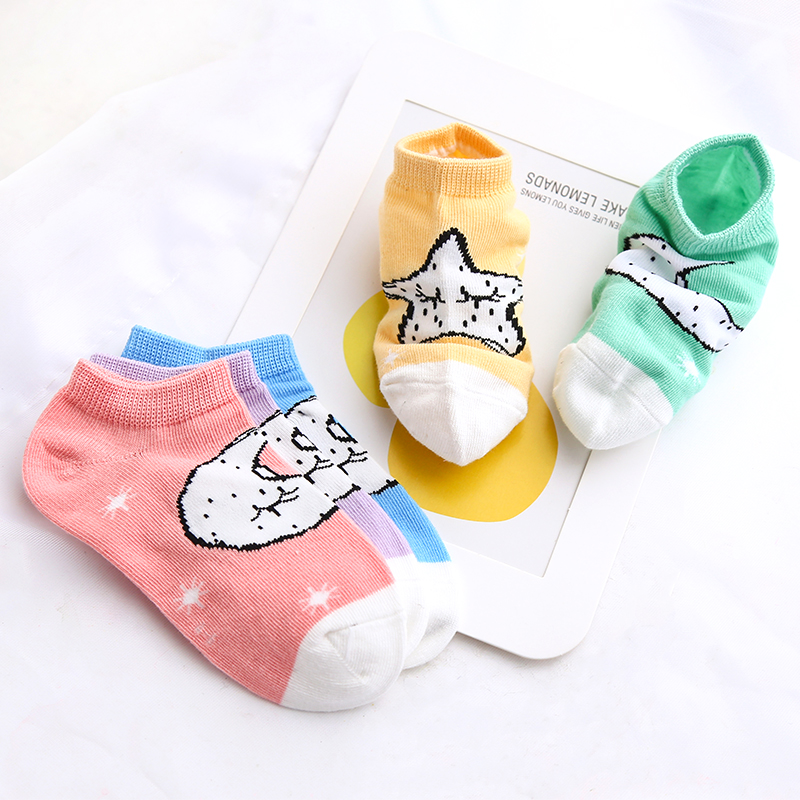 儿童袜子纯棉春秋薄款女童短袜可爱男童透气女孩中筒潮ins宝娜斯