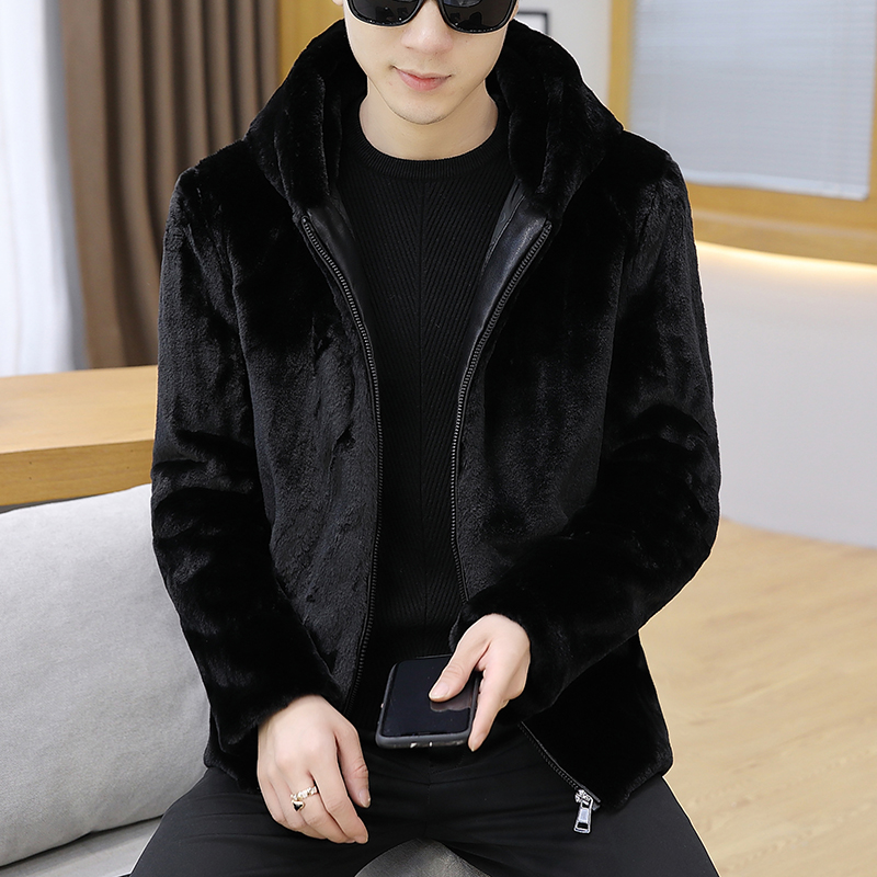 Winter 2019 faux mink men's jacket thickened with cotton fur jacket hooded faux fur short coat tide