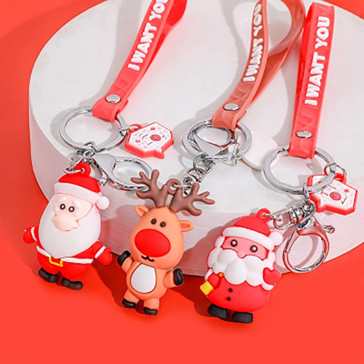 儿童圣诞 节钥匙扣女男可爱挂件个性卡通创意装饰配件小礼物礼品