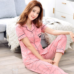 Cotton pajama less ladies summer thin short-sleeved pantsuit lovely spring and autumn large size home wear two-piece set