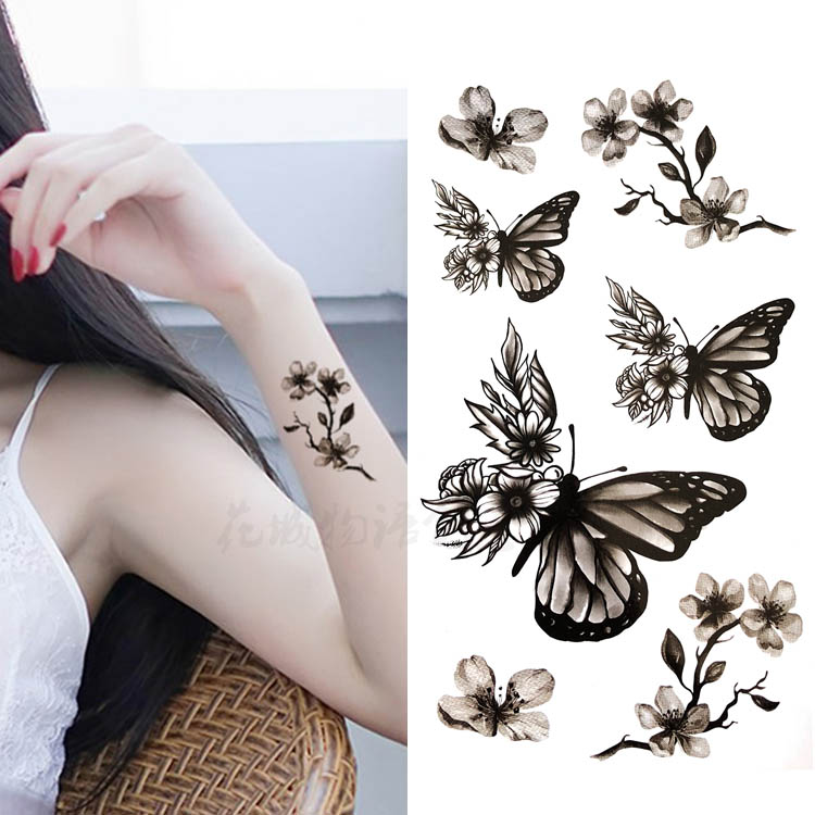 South Korean Small Fresh Tattoo Stickers Waterproof Female Models Hand Painted Black And White Butterfly Beautiful Peach Rose Petals Cherry