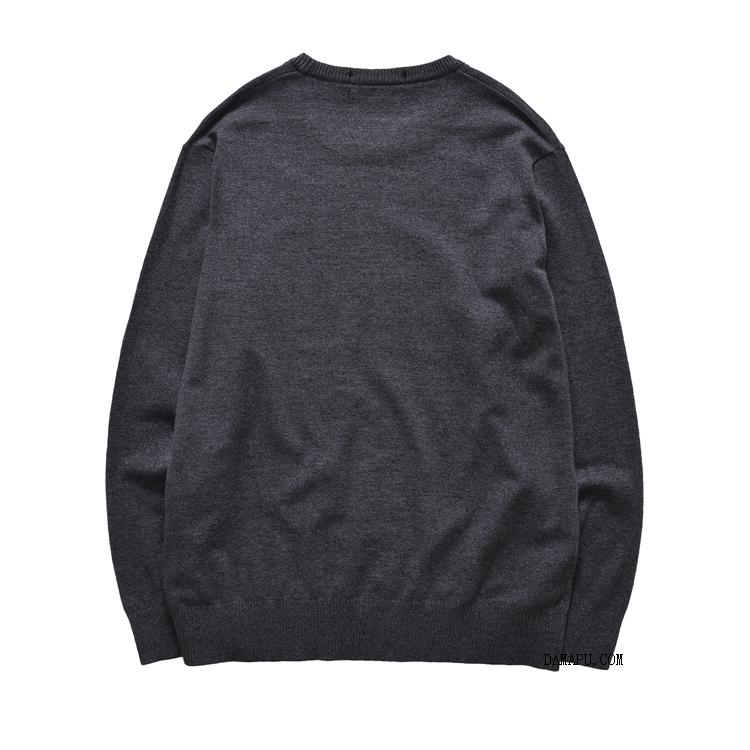 Cộng với size áo sơ mi nam chất béo áo len cộng với áo len tăng béo cổ tròn áo len mùa xuân và áo len mùa thu chàng béo - Hàng dệt kim