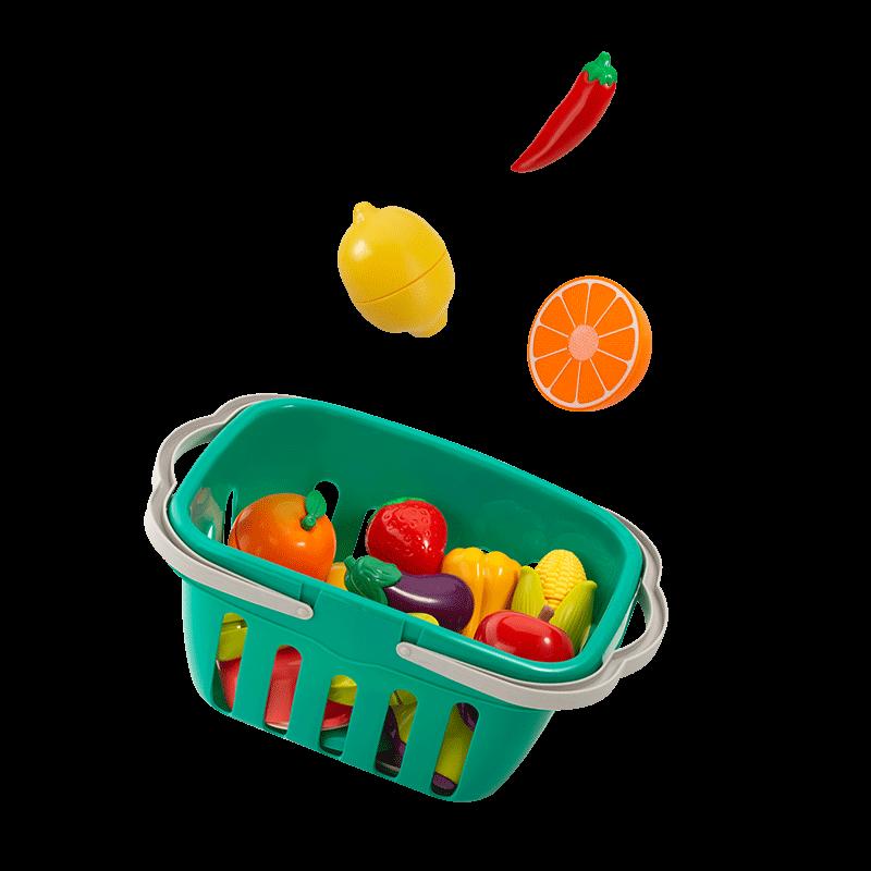 贝恩施儿童切水果玩具宝宝蔬菜切切乐魔术贴男女孩过家家厨房套装