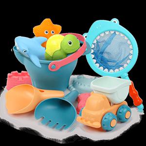 贝恩施儿童沙滩玩具套装玩沙子决明子宝宝戏水沙池挖铲子工具沙漏