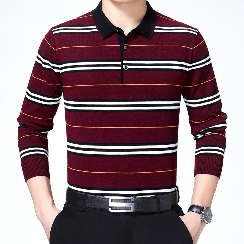 秋季新款爸爸T恤品牌中年长袖羊绒衫男士v爸爸针织衫加大码商务装
