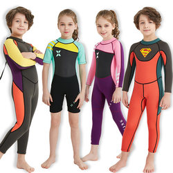 Children's swimwear boys and girls thicken warm and quick-drying 2.5MM one-piece snorkeling clothing jellyfish long-sleeved trousers