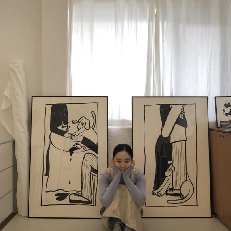 my dog 韩国艺术家 我的爱人和狗 美好生活方式装饰画 海报多款入
