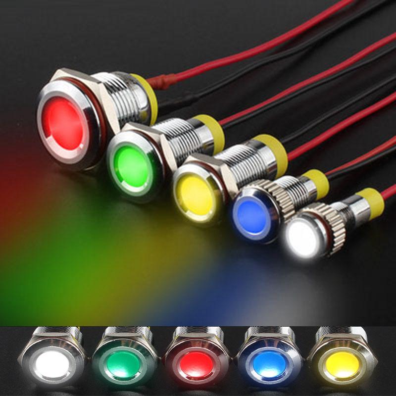 6/8/10/12/16MMLED金属指示灯防水带线小型电源指示灯12V24V220V