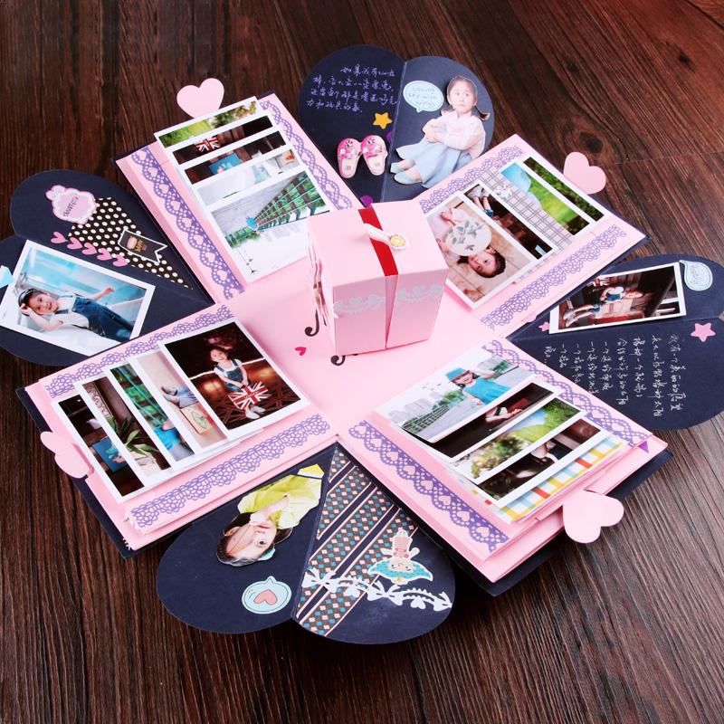 情侣告白七夕情人节惊喜爆炸盒子diy手工创意相册礼物盒男女,免费领取10元淘宝优惠卷