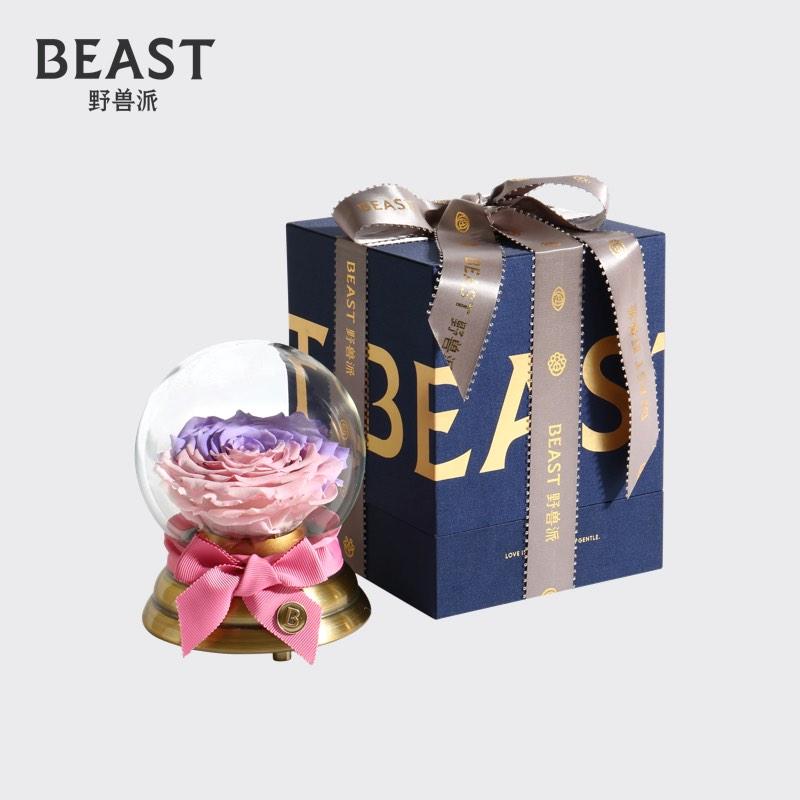 野兽派音乐水晶球永生花,送给女友情人节礼物