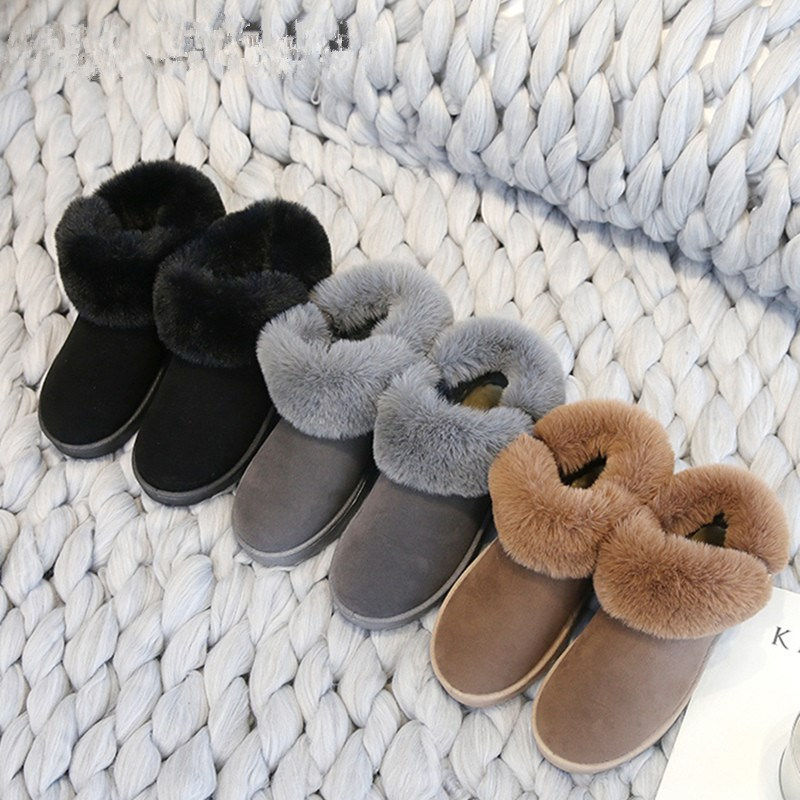 少女毛绒加棉加厚毛毛鞋软底短毛绒深灰色2018冬季新款短靴雪地靴
