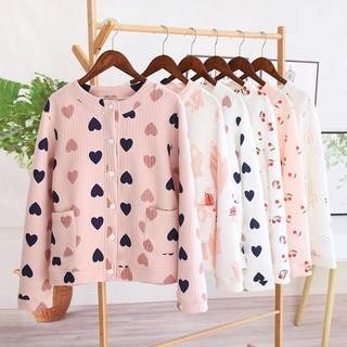 Autumn and winter pajamas women's single-piece tops pure cotton thickening cute warm three-layer quilted ladies long-sleeved home service