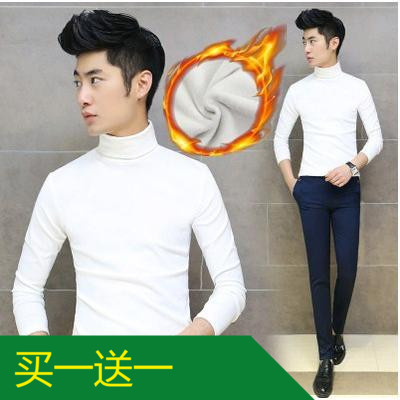 10 9.9.9 Specials Men's long-sleeved t-shirt half-high collar clothes solid color trend velvet padded jacket