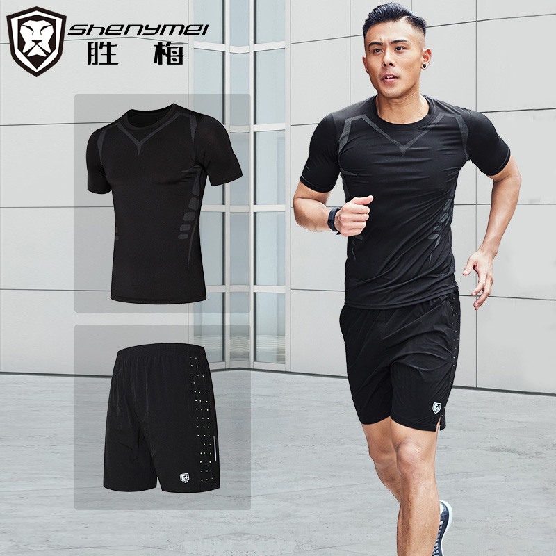 Быстросохнущие спортивный набор мужчина лето два рукава короткий рукав свободный пот шорты лето брюки фитнес дом бег одежда
