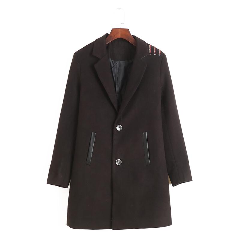 2034 mùa thu quần áo mới của phụ nữ đi lại phiên bản Hàn Quốc của BF gió trung tính phù hợp với cổ áo dài tay áo len dài giữa - Áo khoác dài