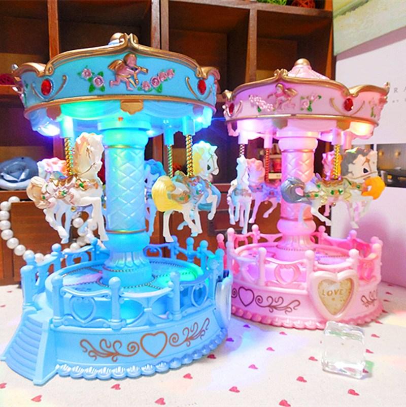 可上下升降旋转木马音乐盒天空之城八音盒送女生儿童情人节礼物