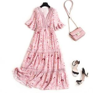 Người nổi tiếng cộng với size váy 2020 mùa hè in lụa cổ chữ V là tay áo ren mỏng Váy chữ A có dây treo Hàn Quốc - A-Line Váy