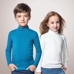 安奈儿童装女童打底衫纯棉高领男童长袖T恤纯色冬装内搭保暖上衣