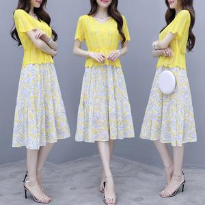 實拍很仙的法國小眾連衣裙兩件套女夏新款韓版針織雪紡裙洋氣套裝