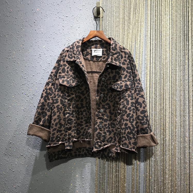 欧洲站2020春季新款豹纹宽松大码BF风翻领夹克牛仔衣短外套长袖女