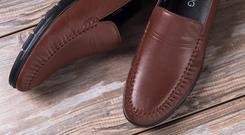 奥康皮鞋男士日常休闲皮鞋真皮套脚低帮软面皮圆头舒适男单鞋高清展示图 7