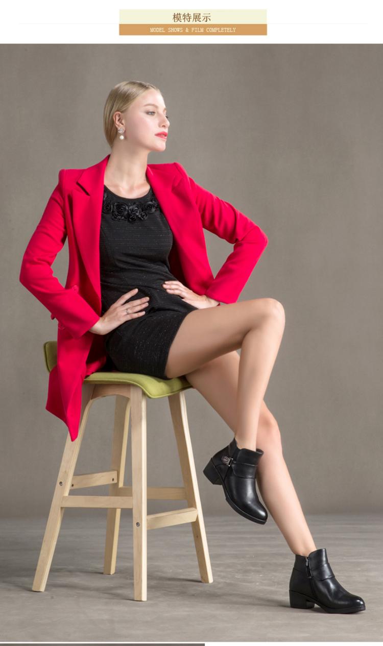 奥康女鞋 冬款中跟棉靴拉链女短靴子 轻质圆头舒适保暖女棉鞋高清展示图 3