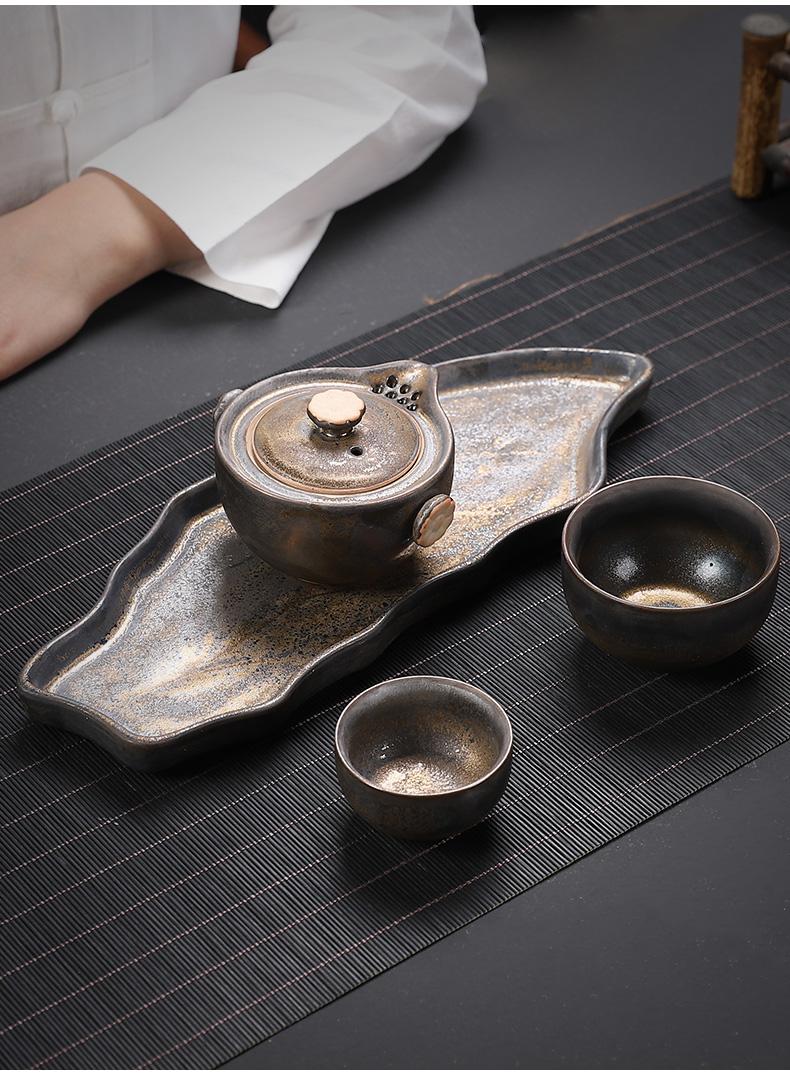 Restoring ancient ways in floor gold iron glaze dry plate manual coarse pottery tea tray ceramic tea sets creative small tea tray tray