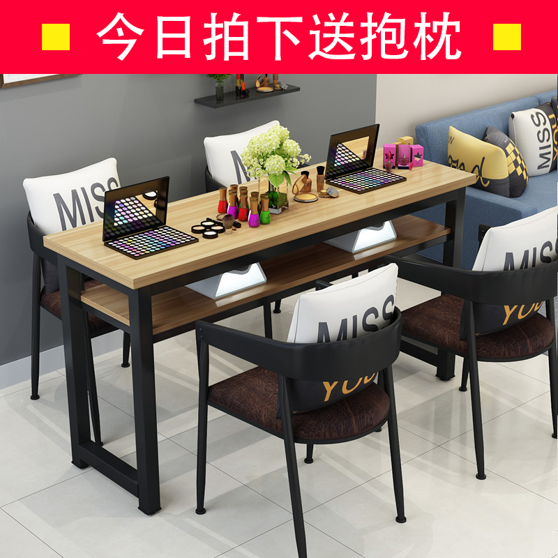 USD 93.78] Nail Art table and chair set simple modern Double black ...