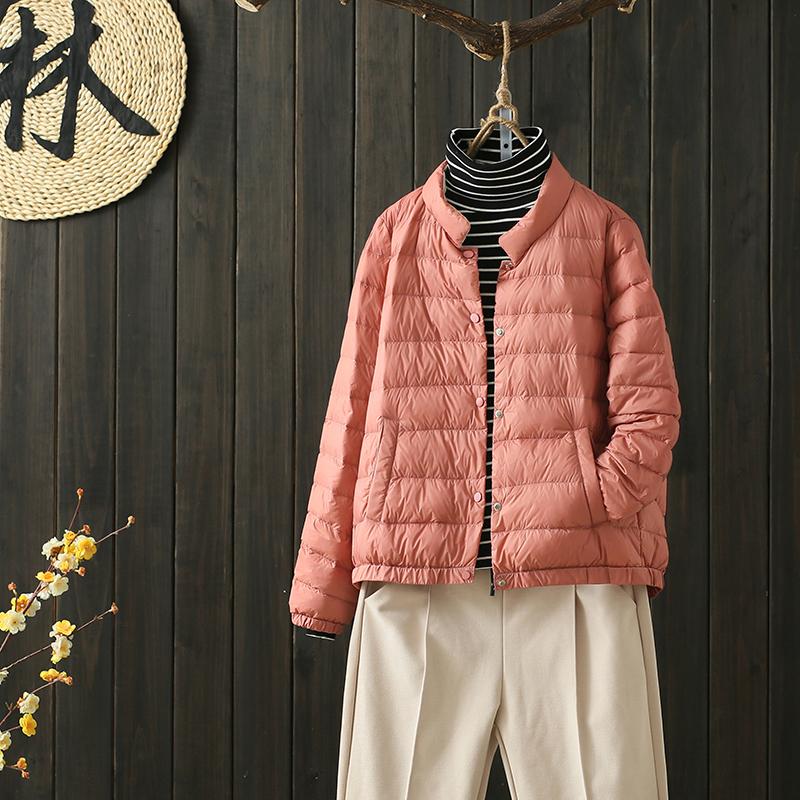 Phiên bản Hàn Quốc giản dị giản dị nhẹ nhàng và ấm áp sọc ngắn áo khoác xuống cổ áo nữ đứng cổ điển 2019 thu đông mới - Xuống áo khoác