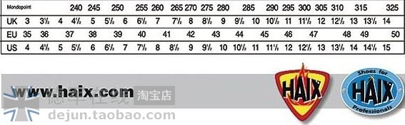 Haix Airpower Sizing Chart Related Keywords Suggestions Haix