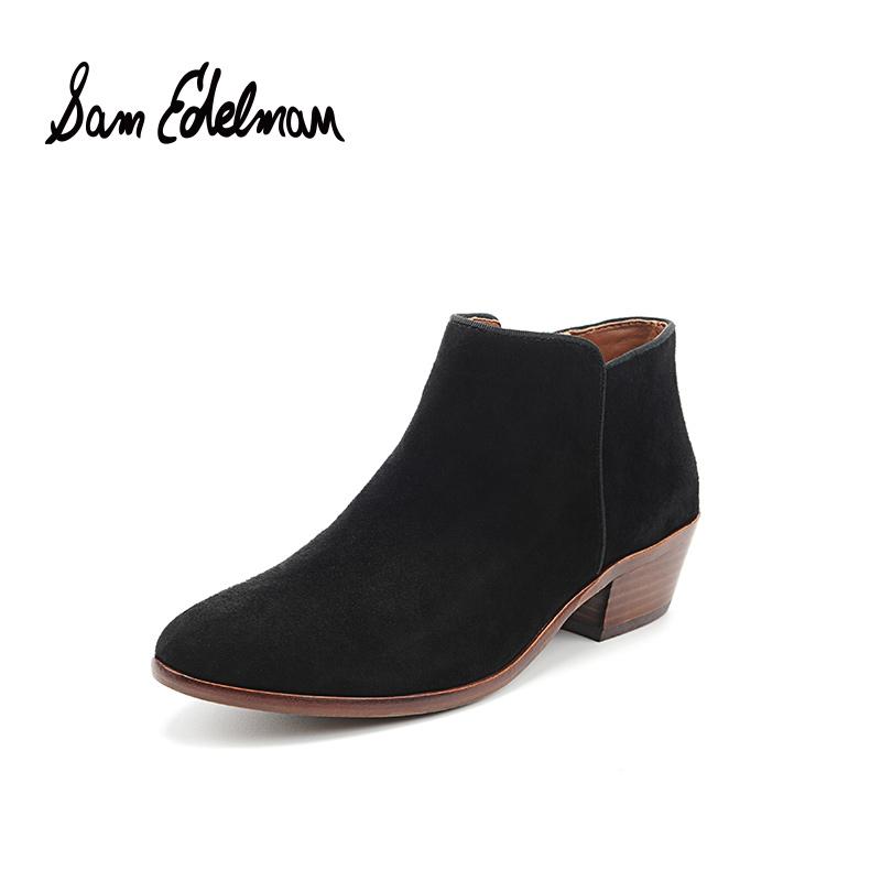 SAM EDELMAN欧美风及踝短靴粗跟侧拉链女鞋 C0532
