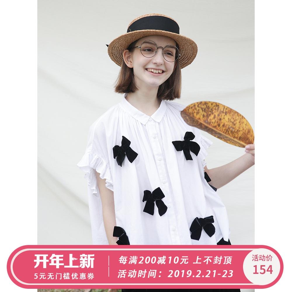 imakokoni白色蝴蝶结衬衫 原创设计日系宽松甜美短袖女夏 182309